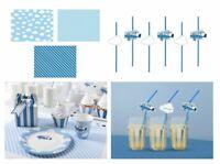 Tischsets + Strohhalme + Konfetti Blau Flugzeug Jungen Geburtstags Deko Set