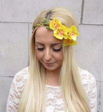 Yellow Orchid Flower Garland Headband Hair Crown Festival Boho Headpiece 2513