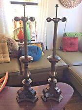 Vintage Mid Century Pair STIFFEL Brass Lamps Table desk Modern Hollywood Regency