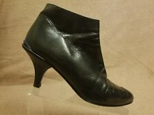 Prada Milano Women Shoes Black Boots Leather Zip Up Heels Ankle Booties Size 40