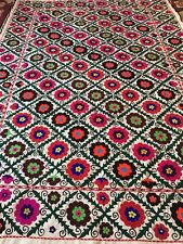 61� X 87�Uzbek Vintage Large Walldecor Quilt Bedding Handmade Embroidery Suzani