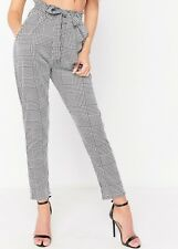 Womens High Waist Paper Bag Check Dogstooth Ladies Skinny Tartan Trousers Pants