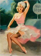 1940s Pin-Up Girl Bus Stop Picture Poster Print Art Pin Up Ups