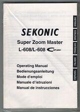 SEKONIC 608 / 608 CINE LIGHT METER INSTRUCTION (ORIGINAL PRINT JAPAN/not copies)