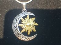 "Sterling Silver Two-tone Celtic Sun and Moon Necklace with 22"" Snake Chain"