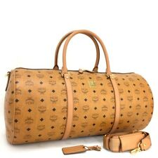 MCM Cognac Visetos Leather Boston Travel Hand Bag w/Shoulder Strap/3336