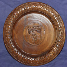 Ornate carved wood wall hanging plate