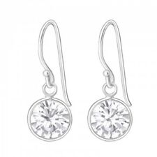 Round Drop/Dangle Earrings (Des 2) 925 Sterling Silver Crystal Cubic Zirconia
