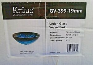 Tempered Blue Glass Bathroom Sink Durable Basin Complete w/Faucet GV-399
