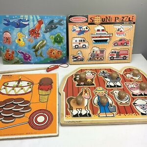 Wood Puzzle Lot Playskool 1983 Melissa & Doug Sound Trucks Magnetic Fishing Knob