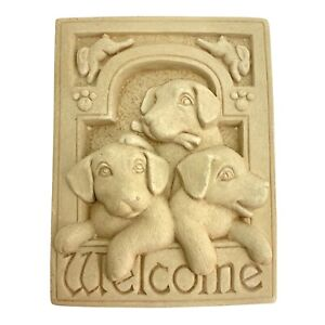 Welcome Sign Wall Plaque - 1992 Carruth Puppy Dogs Rabbits - Indoor / Outdoor