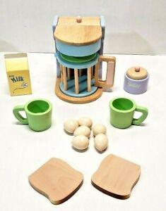 KIDKRAFT WOODEN TOY TEA BAGS CUP FOOD COFFEE MAKER  MUG  BREAD EGGS MILK KITCHEN
