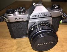 Pentax K1000 35mm cámara SLR de película con 50mm F2 Pentax Smc-m Lente hermosa