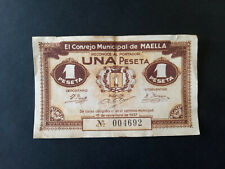 BILLETE LOCAL 1 PTA CONSEJO MUNICIPAL DE MAELLA ZARAGOZA,1937