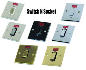 Decorative Metal Cooker Shower Switch 45 Amp  - Various finishes