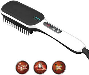 White Hair Straightening Brush Electric Hair Care LCD Comb Tool Heat Ceramic