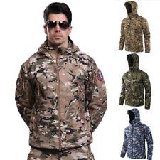 Men's Outdoor Waterproof Tactical Jacket Fleece Hoodie Coat Hiking Camping Tops