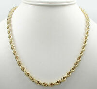 """10K Solid Yellow Gold 4mm Rope Chain Thick Necklace Mens Women 18""""-30"""""""