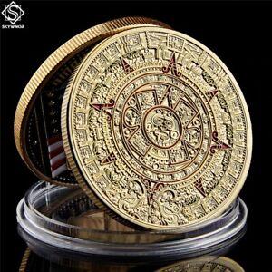 Mexico Mayan Aztec Calendar Art Prophecy Culture Souvenir Gold Coins Collectible
