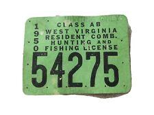 1950 West Virginia Hunting License
