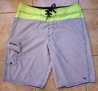 O'Neill Board Surf Swim Shorts Size 32 Gray/Yellow