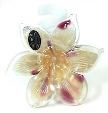 100% GENUINE MURANO BEIGE+CLEAR+PURPLE GLITTER 6 PETAL GLASS FLOWER VASE-ITALY