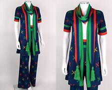 Vtg 70s Sant'Angelo 3 Pc Blue Multicolor X Pattern Knit Cardigan Pant Scarf Sz S