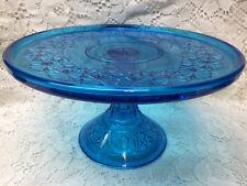 Aqua Blue Daisy & button pattern Glass cake serving stand plate platter pedestal