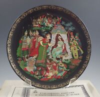 MIB 1989 RUSSIAN LEGENDS GOLDEN COCKEREL PLATE, PALEKH -FAIRY TALES, BOXED
