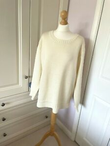 Woolovers Ladies Cream Guernsey Jumper in 100% Pure Wool XL