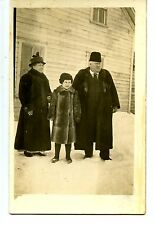 People Outdoors in Fur Coats-Winter Snow-House-RPPC-Vintage Real Photo Postcard