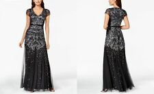 Adrianna Papell Long Beaded Gown With Cap Sleeve Size 12 # C 505
