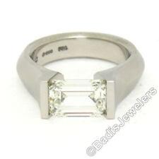 Anillos de joyería con diamantes naturales de platino esmeralda