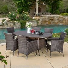 Outdoor Patio Furniture 7pcs Brown Wicker Dining Set w/ Cushions