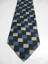 Metropolitan by Lord and Taylor Blue Black and Gray Silk Geometric Necktie