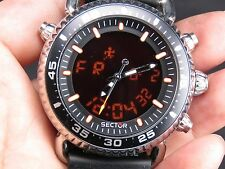 NEW OLD STOCK 44MM SECTOR 290 SPORTS ALARM CHRONOGRAPH DAY DATE QUARTZ MEN WATCH