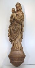 Große Holz Madonna Maria mit Jesus handgeschnitzt Oberammergau sign. Heinzeller