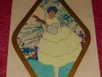 ART-DECO FRANCAIS 1925] GOUACHE AU POCHOIR FEMME XXe OMBRELLE Superbe Rare Mode
