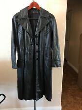 Mens Black Genuine Leather Full Length Lined TRENCH COAT Long Over Jacket S M