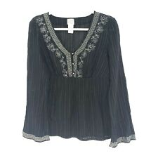 NWOT Womens Size XL Black Floral Embroidered V-Neck Long Sleeve Peasant Blouse