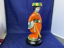 Rare Vintage Ceramic Japanese Geisha Handpainted Figurine Lamp Base 10� Tall
