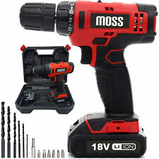 Moss 18 V Perceuse sans fil conducteur Set Combi Lithium Ion Tournevis DEL recha...