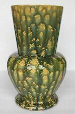 """signed Anna N.J. / vtg American spongeware spatterware studio pottery vase 9.5"""""""