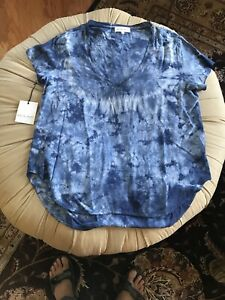 Bella Dahl V-NECK TEE /B2960533-440 Large/Indigo Tie Dye ONE OF A KIND $101.00