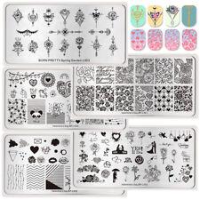 5Pcs BORN PRETTY Nail Art Stamping Plates Rectange Rose Geometry Image Templates