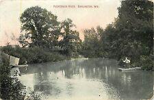 Vintage Hand Colored Postcard Pecatonica River Darlington Wisconsin WI Lafayette