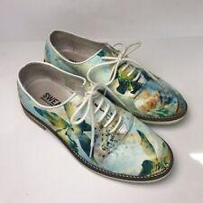 SWEAR LONDON Charlotte 5 Blue Watercolor Floral Canvas Sneakers Sz 37 Shoes
