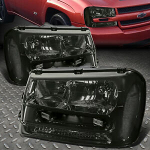 FOR 02-09 CHEVY TRAILBLAZER EXT SMOKED HOUSING CLEAR CORNER HEADLIGHT HEAD LAMPS