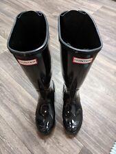 New Hunter Women's Gloss Black Rubber Rain BOOTS Original Rear Adjust Tall 7 Med