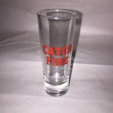 Cool Catch Fire  WHISKEY Tall  SHOT GLASS Red Letter               dk4
